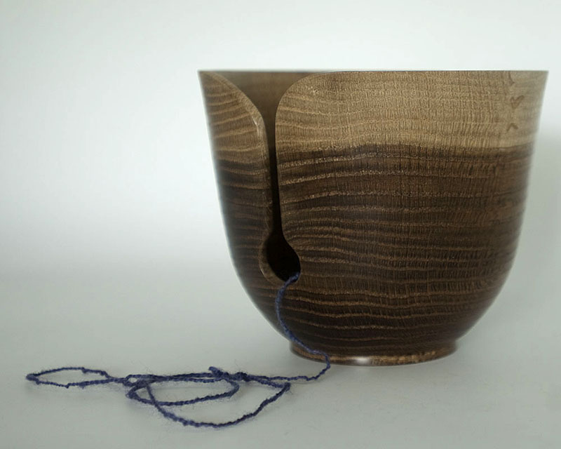 knitting bowl in fumed oak, as Sky and Sea