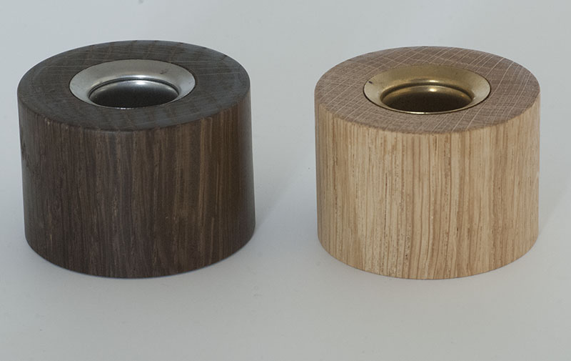 Candle sticks in normal and fumed oak